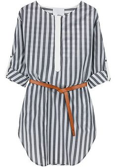 Vertical striped dress with camel belt....has my name written all over it