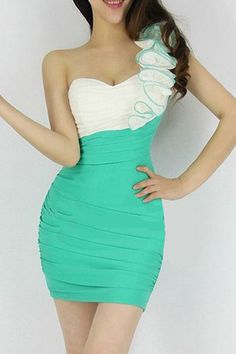 Sexy One Shoulder Sleeveless Sheath Green Mini Dress