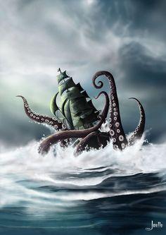 I separated some amazing Kraken illustrations I found on deviantART. The Kraken, contrary to what ma Kraken Art, Kraken Tattoo, Mythological Creatures, Fantasy Creatures, Mythical Creatures, Cthulhu, Motif Art Deco, Giant Squid, Octopus Art