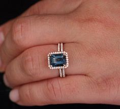 14k Rose Gold 9x7 London Blue Topaz Emerald Cut Engagement Ring and Diamonds Wedding Band set (Choose color and size options at checkout) by Twoperidotbirds on Etsy https://www.etsy.com/listing/200295559/14k-rose-gold-9x7-london-blue-topaz