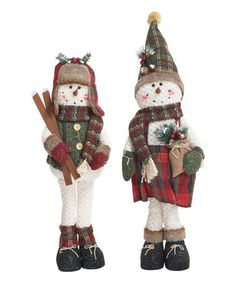 Plush Standing Snowmen Shelf Sitter - Set of Two #zulily #zulilyfinds
