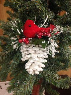 Christmas Ornament - Pinecone - White Pinecone - Red Bird - Handmade ornament by HolidayByGrace on Etsy Pinecone Ornaments, Handmade Ornaments, Diy Christmas Ornaments, Handmade Christmas, Holiday Crafts, Christmas Wreaths, Christmas Decorations, Glitter Ornaments, Country Christmas Trees