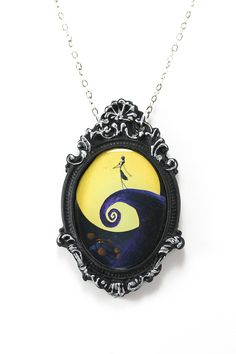 Inked Boutique - Jack Skellington Nightmare Before Christmas Cameo Necklace with Ornate Silver & Black Frame Rockabilly Psychobilly Pinup Goth http://www.inkedboutique.com/