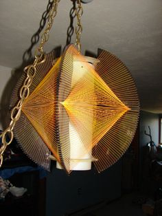 Vintage Hanging String Art Retro Lamp - Amazing Vintage lamp in excellent condition Hippie Bohemian Hippy Boho Glows a bit