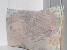 Vintage French Shabby Chic Postcard Printed Cushion £12.00