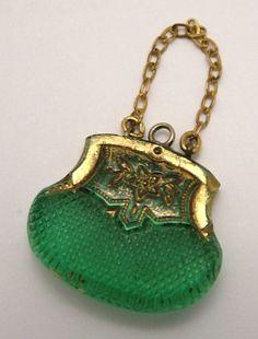 Edwardian Czech glass handbag charm. www.sandysvintage... Clothing, Shoes & Jewelry : Women : Handbags & Wallets : Women's Handbags & Wallets hhttp://amzn.to/2lIKw3n