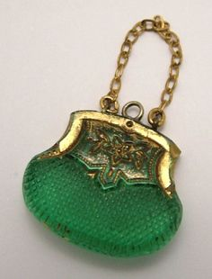 Edwardian Czech glass handbag charm. www.sandysvintagecharms.com