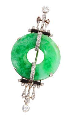 Art Deco Onyx Jade Diamond Platinum Jabot Brooch