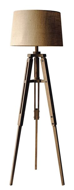 "62-1/4""H Mariner Wood Tripod Floor Lamp w/ Burlap Shade"