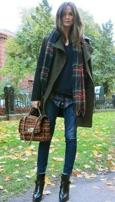 Jeans, Chelsea boots, shirt under jumper, coat and tartan scarf
