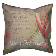 Antique Florida Map and Bird of Paradise Beige, Green, Coral, Blue and Black British Colonial Pillow Cover 16X16