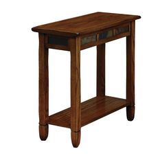 Add a touch of sophistication to your home with this rustic oak chairside table. This sturdy table features a large display shelf and underbeveled top.