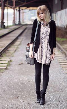 Stamp dress + black cardigan
