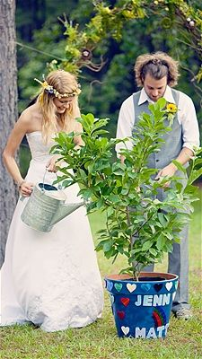 If you end up with an outdoor  wedding, the tree ceremony is very moving and symbolic.  I also like the flowers for everyone if the reception is at night and outdoors.  Also maybe have your bridesmaids carry flower-decorated lanterns if outside and David & Aidan & Gwen could have glowstick bouquets.