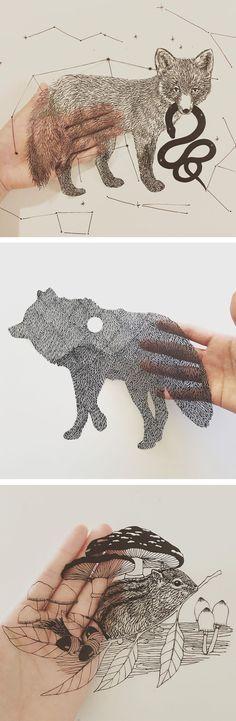Paper Cutouts That Look Like Pen Drawings by Kanako Abe 3d Paper Art, Cardboard Art, Paper Installation, Cut Out Art, Artist Sketchbook, Plant Art, Wildlife Art, Art Portfolio, Cut Outs