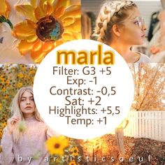"Vsco cam filter ""marla"" for yellow feed. Pinterest: @giovana"