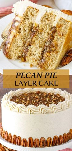 This Pecan Pie Layer Cake is made with moist layers of brown sugar cinnamon cake, homemade pecan pie filling and cinnamon frosting! It's tastes like eating pecan pie, except you're eating a delicious cake! Pound Cake Recipes, Easy Cake Recipes, Dessert Recipes, Homemade Pecan Pie, Homemade Cakes, Matilda Cake Recipe, Southern Pound Cake, Pecan Pie Filling, Cinnamon Cake
