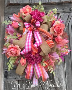 "40 Likes, 4 Comments - Ba Bam Wreaths (@babamwreaths) on Instagram: ""Summer Sizzles in Peaches & Pinks """