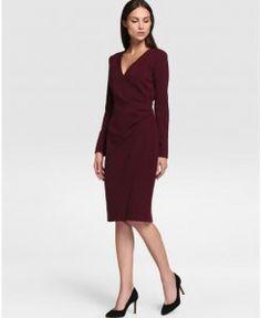 Vestido de mujer Síntesis con manga larga y escote cruzado Image