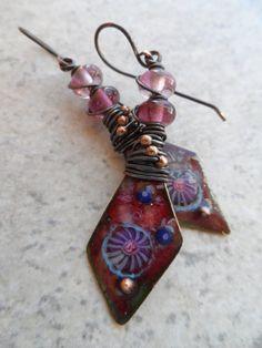 Diamond Daggers ... Lampwork and Enameled Copper by juliethelen