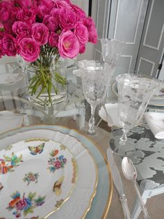 Love the china, crystal and flatware mixing the old and the new