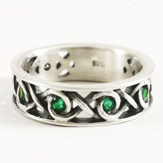 Sterling Silver Celtic Ring, Green Emerald Engagement Ring, Infinity Knot Ring, Celtic Engagement Ring, Handmade Ring, Size 10 Ring, 5063 by Spoonier on Etsy