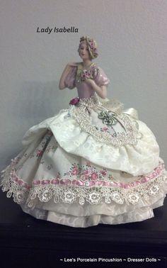 Porcelain Half Doll Pincushion  Dresser by leesvintagetreasures, $150.00