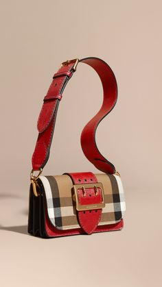fb02f67bec92 The Buckle Bag in House Check and Leather Military Red military Red
