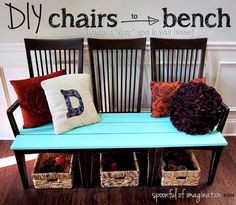 DIY chairs to bench makeover. this tutorial is so clever! i have at least 6 useless chairs and the need for much more outdoor seating. i'll do this one for sure