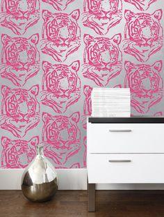 Star Tiger Mylar Wallpaper in Silver Neon design by Aimee Wilder