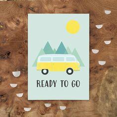 carte postale  van Ready to go par Wombatou sur Etsy