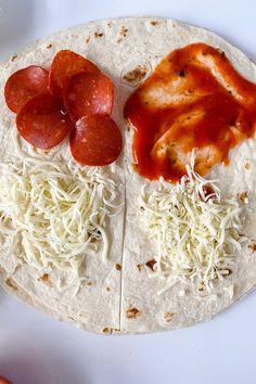 Wrap Recipes, Pizza Recipes, Appetizer Recipes, Lunch Recipes, Appetizers, Healthy Recipes, Tortilla Pizza, Tortilla Wraps, Pizza Wraps