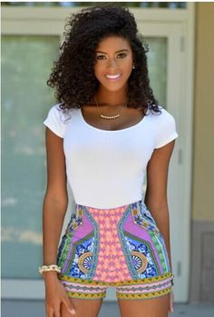 Scoop Short Sleeves Top Flower Print Shorts Two Pieces Set