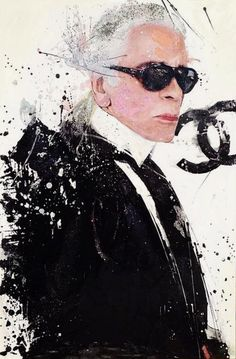 Karl Art by Independent Artists. Fendi, Karl Lagerfeld Choupette, Karl Otto, Fashion Figures, Anna Wintour, Korean Street Fashion, Black White Fashion, Portrait Art, Illustrations