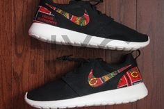 Chicago Blackhawks Hockey Nike Roshe Run Black Custom by NYCustoms