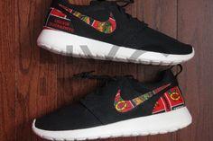 Chicago Blackhawks Hockey Nike Roshe Run Black Custom by NYCustoms