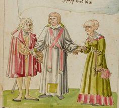 """Ein Priester verheiratet einen jungen Mann, der auf Reichtum aus ist, mit einer begüterten alten Frau (""""böse"""")"""