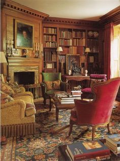 Surely one of the coziest libraries I've ever seen. One would hope that the lucky owner of this room likes to spend long hours in it, just savoring the comfort, the fireplace, the many books.
