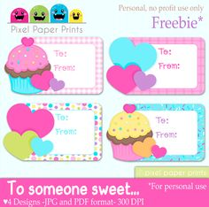 Cupcake Gift Tags FREE Printables - cute for gift tags or birthday goodie bags.