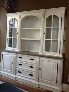 """China cabinet refinished with Annie Sloan """"Pure White ..."""
