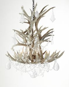 This is what I call Luxe Lodge!  H7FMS Ralph Lauren Stag Chandelier