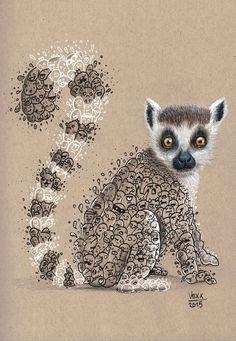 Image of Lemur Doodle Print