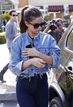 jacket jeans denim denim jacket selena gomez grunge coat cut offs cropped jacket