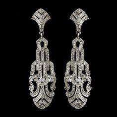 Sparkling Art Deco CZ Wedding Earrings!