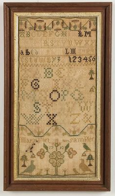 MARY FORT (AMERICAN, PROBABLY VIRGINIA OR TENNESSEE) PICTORIAL NEEDLEWORK SAMPLER