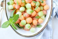 This melon salad is simple and refreshing! Cantaloupe, honeydew and watermelon toss with a little honey, lime juice and fresh mint leaves.