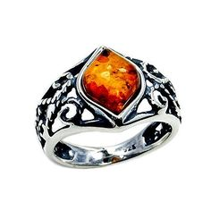 Sterling Silver Natural Honey Baltic Amber Pinky Ring, Size 2.75  Price : $19.95 http://www.silverplazajewelry.com/Sterling-Silver-Natural-Honey-Baltic/dp/B00WZIS4O4