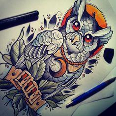 #tattoo #tattooflash #watercolor #owl  Mvtattoo art owl