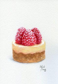 Raspberry Cheesecake - ORIGINAL Painting (Desset Illustration, Still Life, Watercolour Food Wall Art) Dessert Illustration, Portrait Illustration, Desserts Drawing, Food Art Painting, Watercolor Food, Watercolour, Sweet Drawings, Cupcake Drawing, Food Sketch