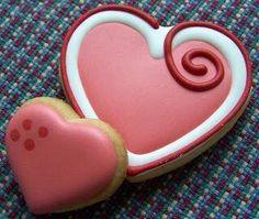 Corazones san valentin galletas rojo